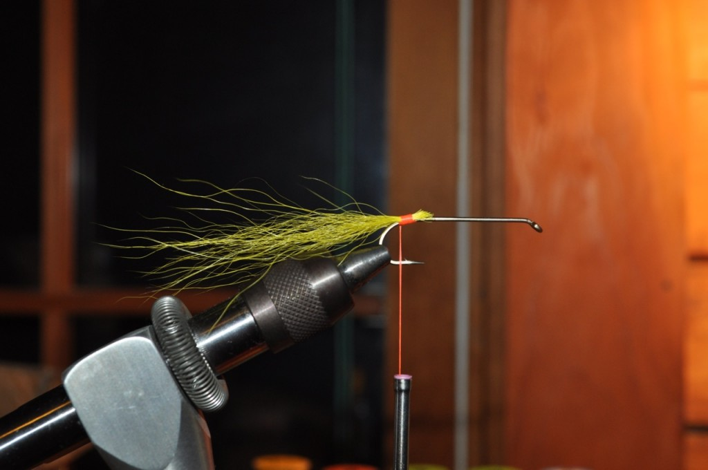 Step 1B - Tie in Yellow Bucktail.